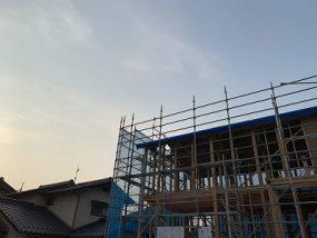 益田市I様邸 大工工事中。